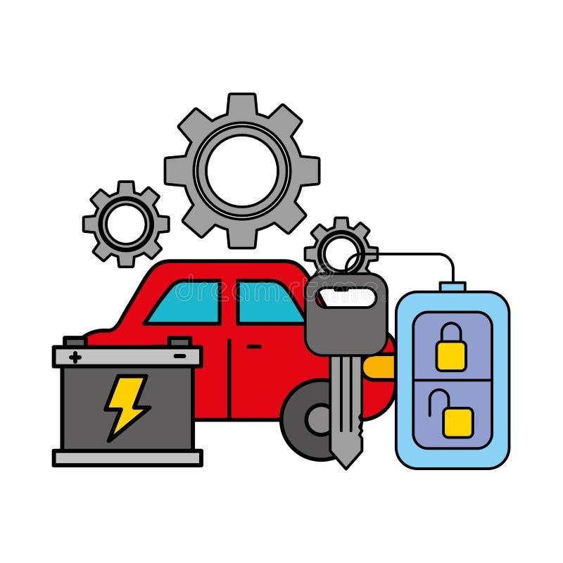 Батарея корабля и обслуживание ключей автомобильное бесплатная иллюстрация