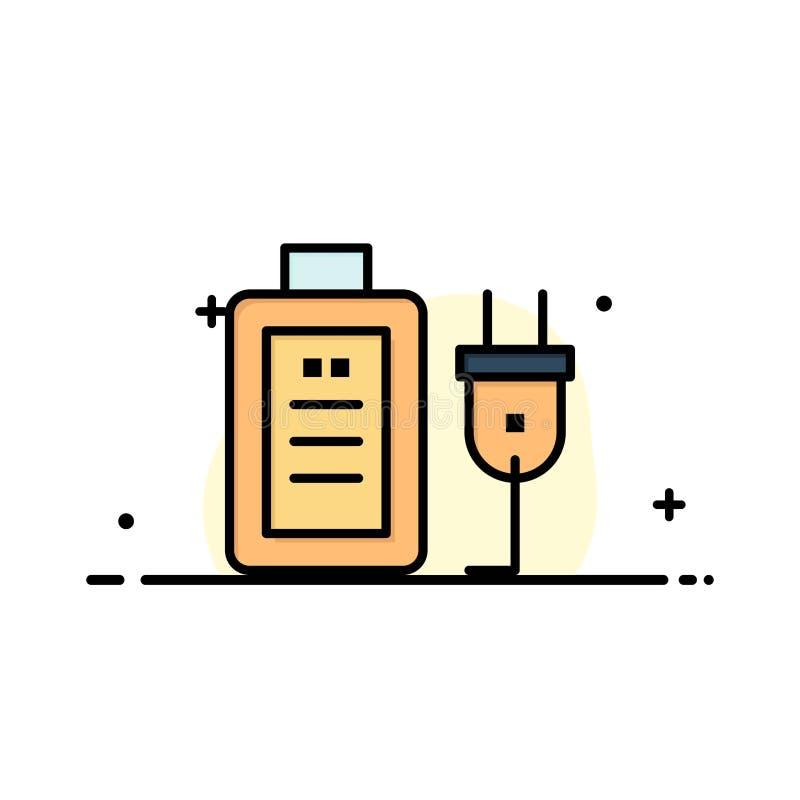 Батарея, обязанность, штепсельная вилка, линия образовательного бизнеса плоская заполнила шаблон знамени вектора значка бесплатная иллюстрация