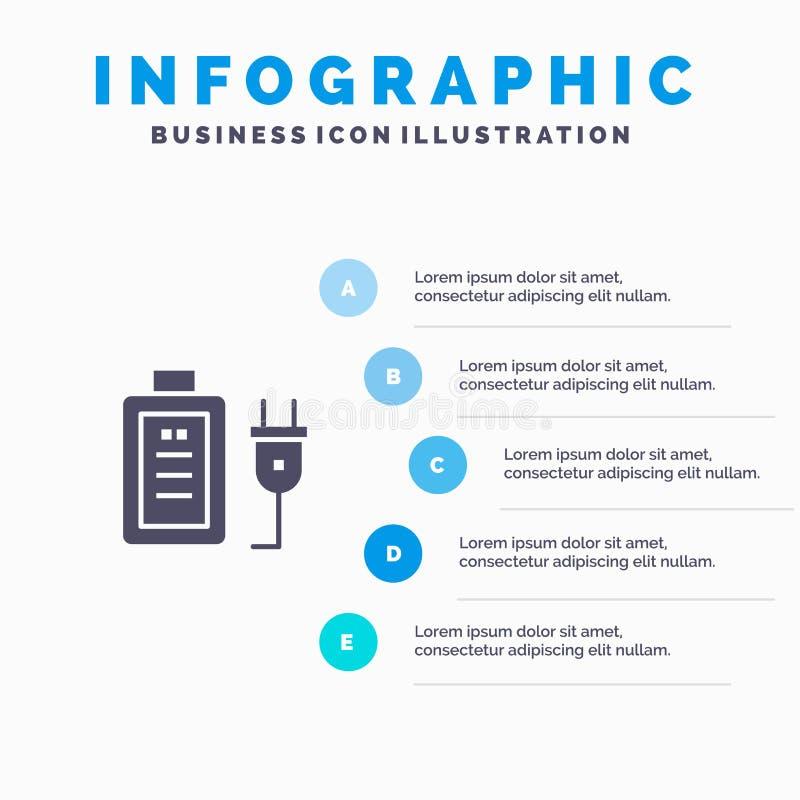 Батарея, обязанность, штепсельная вилка, шаблон представления Infographics образования Представление 5 шагов иллюстрация штока