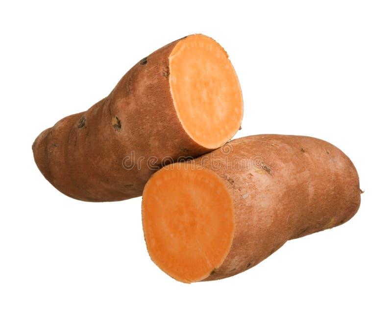 Батат сладкого картофеля изолированный на белой предпосылке, конце-вверх стоковые изображения rf