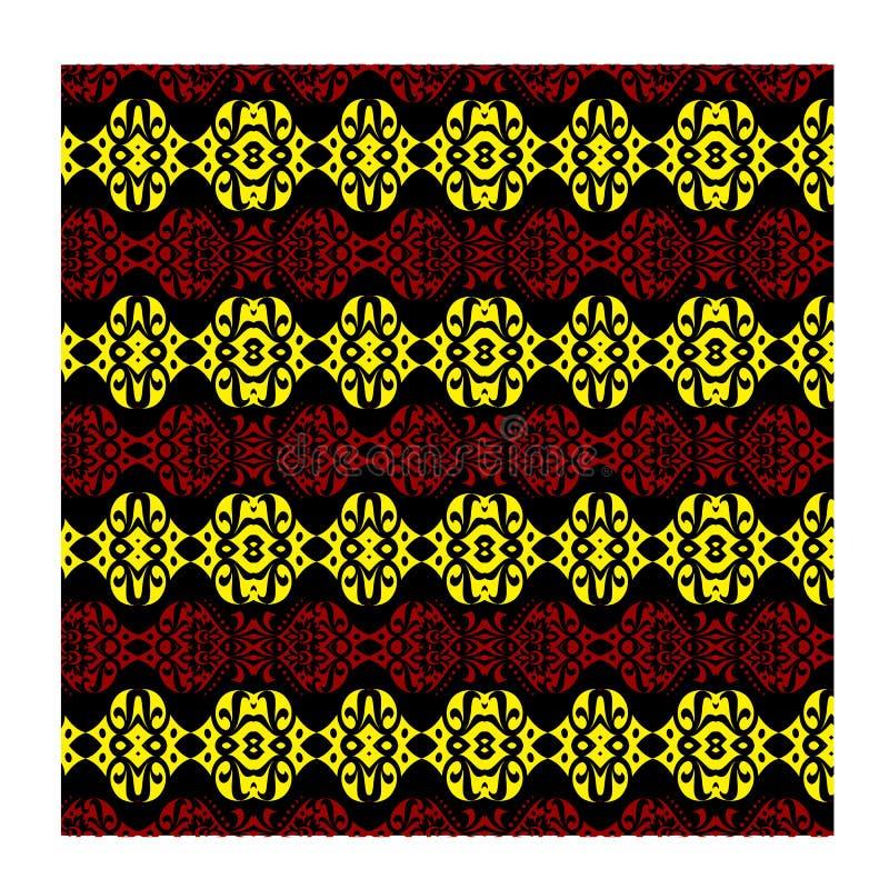 Батик предпосылки вектора безшовный красный желтый для печати ткани моды стоковое изображение rf