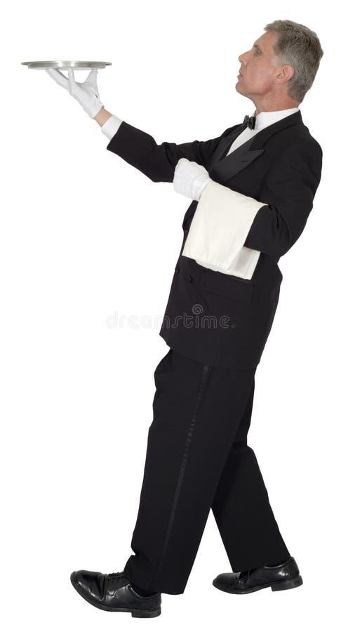 Батлер, головной кельнер, сервер, изолированная роскошь, стоковое фото rf