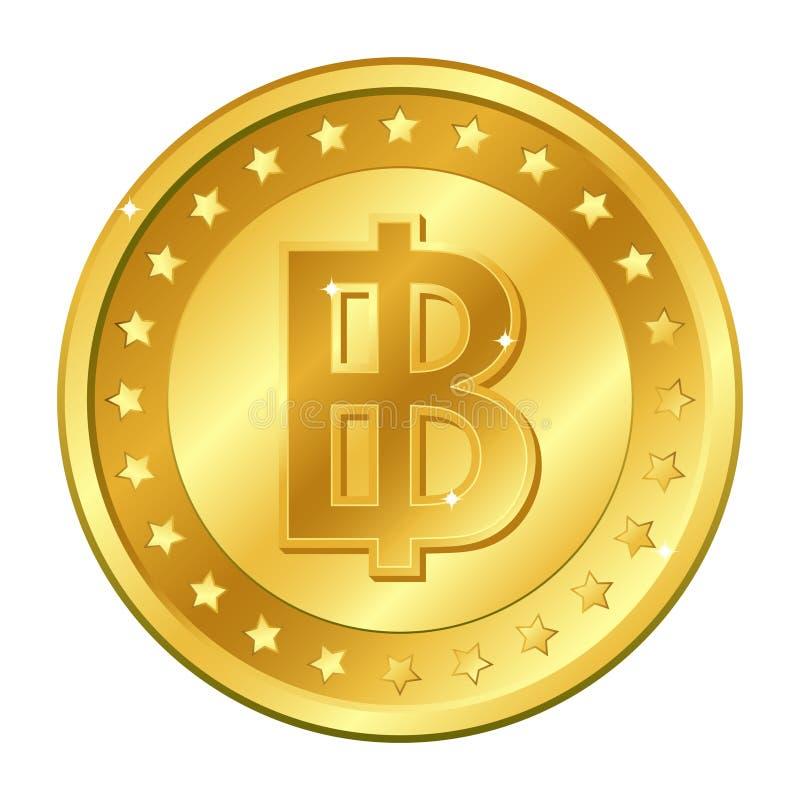 Бат, золотая монетка валюты Таиланда с звездами Иллюстрация вектора изолированная на белой предпосылке Editable элементы и слепим бесплатная иллюстрация
