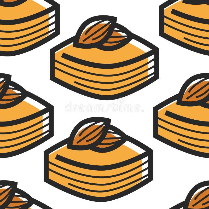 Бахлава с десертом или обслуживанием Туниса картины миндалин безшовными иллюстрация штока