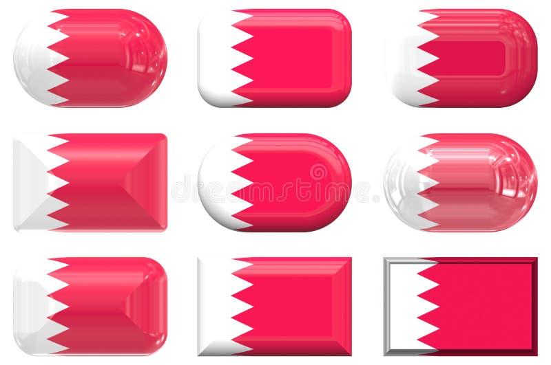 Бахрейн застегивает стекло 9 флага иллюстрация штока