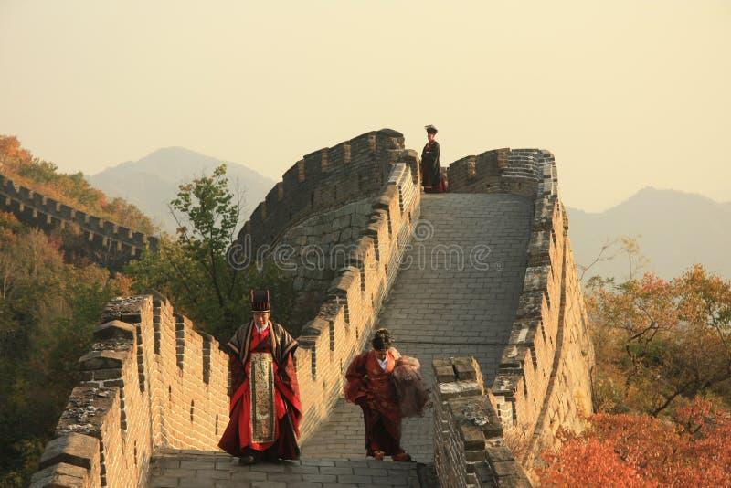 Башни Великой Китайской Стены на заходе солнца в осени стоковые фотографии rf