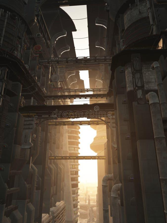 башни города футуристические иллюстрация штока