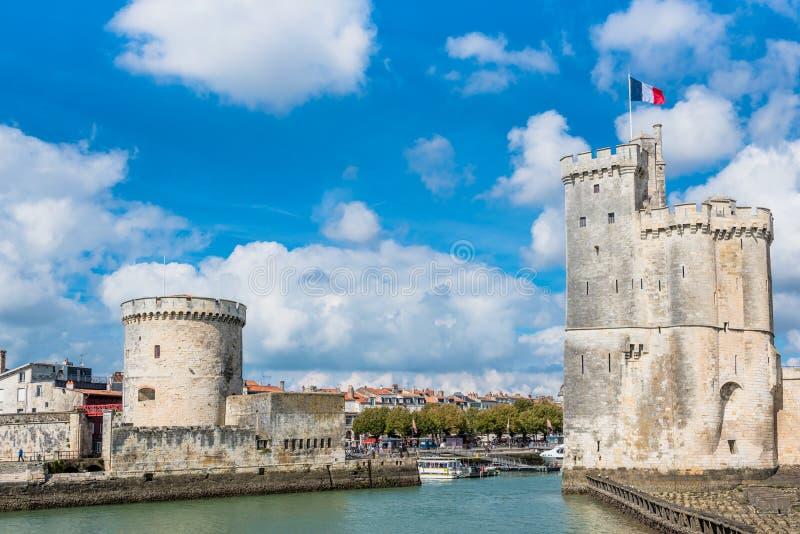Башни древней крепости La Rochelle Франции стоковая фотография
