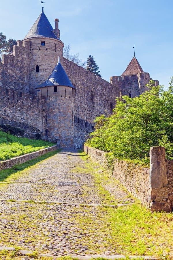 Башни средневекового замка, Каркассона стоковое изображение rf