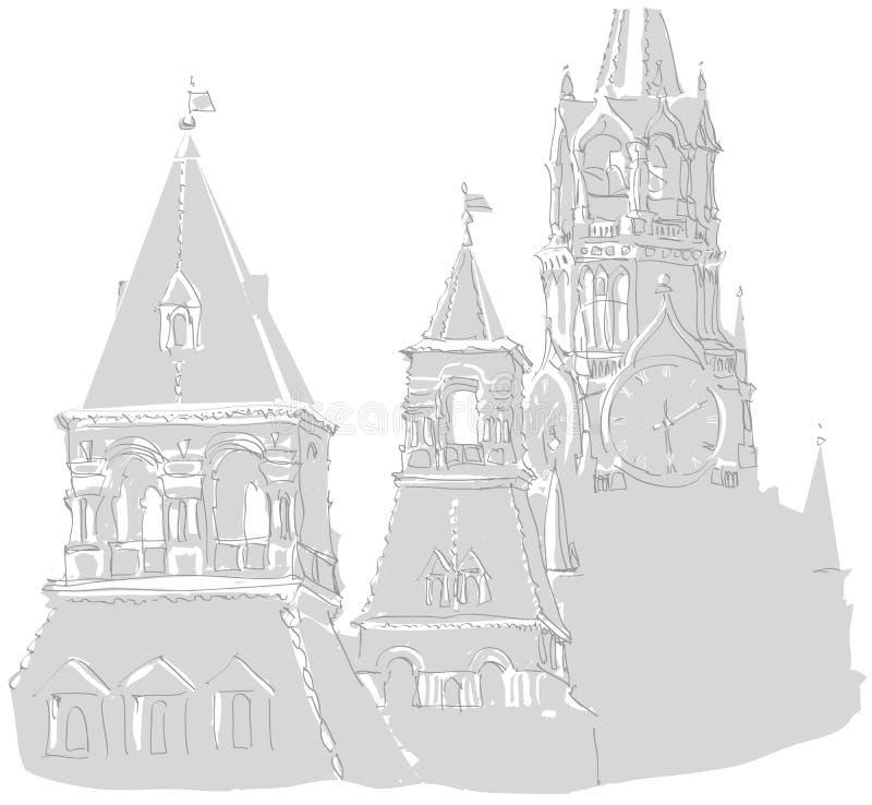 башни kremlin moscow иллюстрация вектора