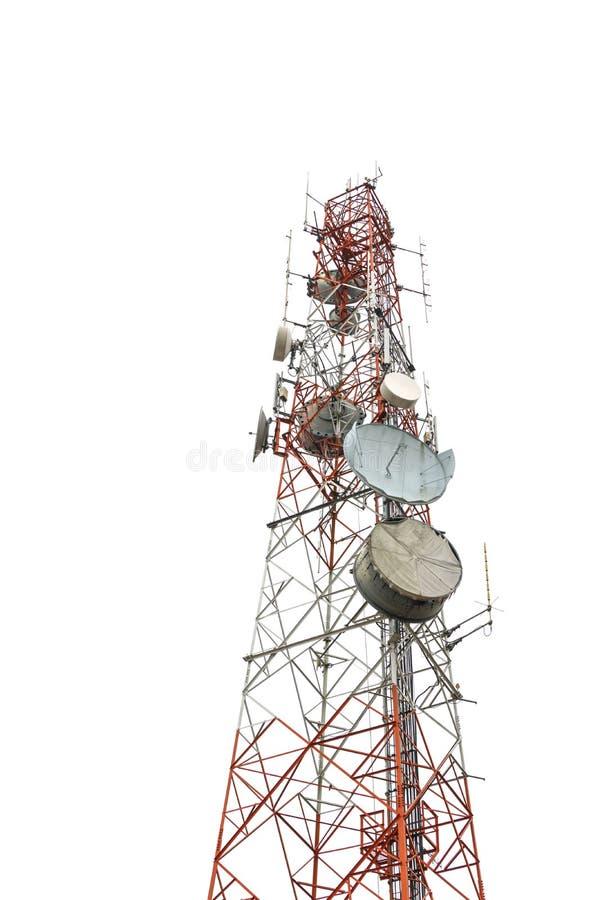 Башня антенны сообщения изолированная на белизне стоковые фотографии rf