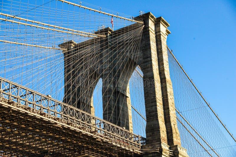 Башня Бруклинского моста и голубое небо Нью-Йорк США стоковые фотографии rf