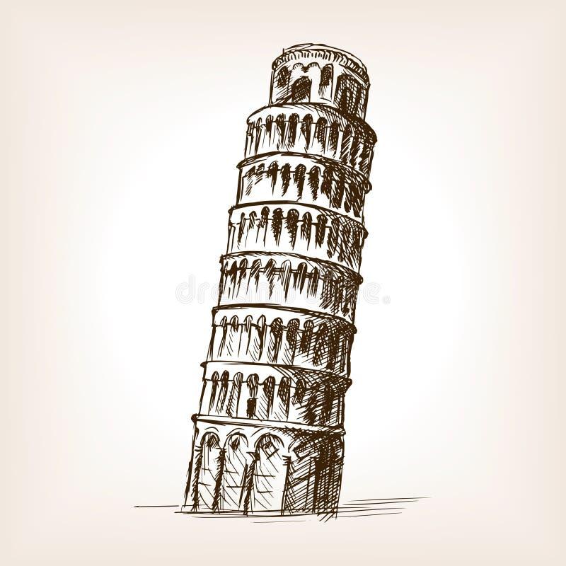 Башня вектора стиля эскиза Пизы нарисованного рукой иллюстрация штока