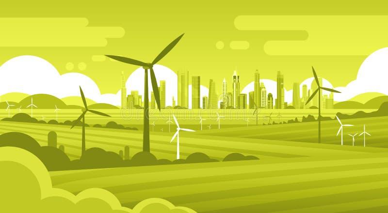 Башня ветротурбины в технологии источника альтернативной энергии экологичности предпосылки города зеленого цвета поля иллюстрация штока