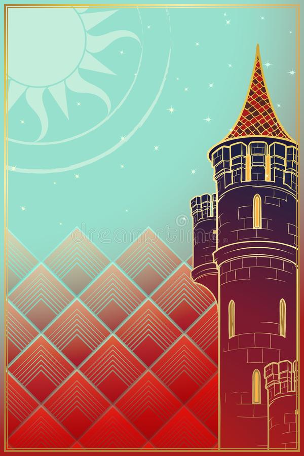 Башня восходящего солнца Чертеж концепции фантазии бесплатная иллюстрация