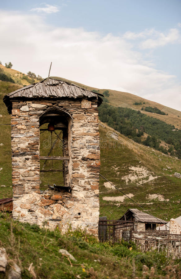 Башня в деревне Svaneti стоковая фотография rf