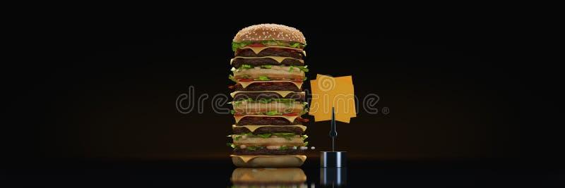 Башня гамбургера 3d иллюстрация вектора