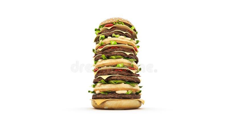 Башня гамбургера 3d иллюстрация штока