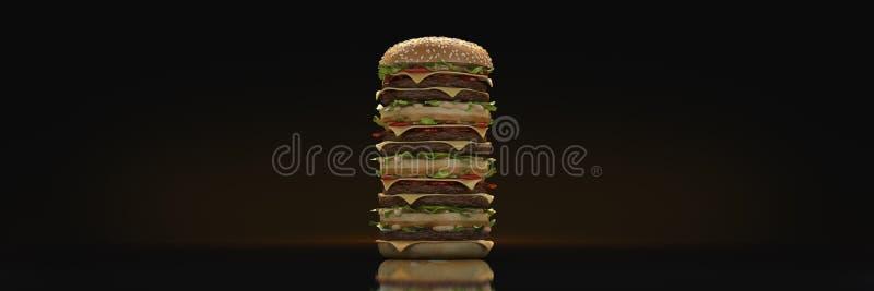 Башня гамбургера 3d бесплатная иллюстрация