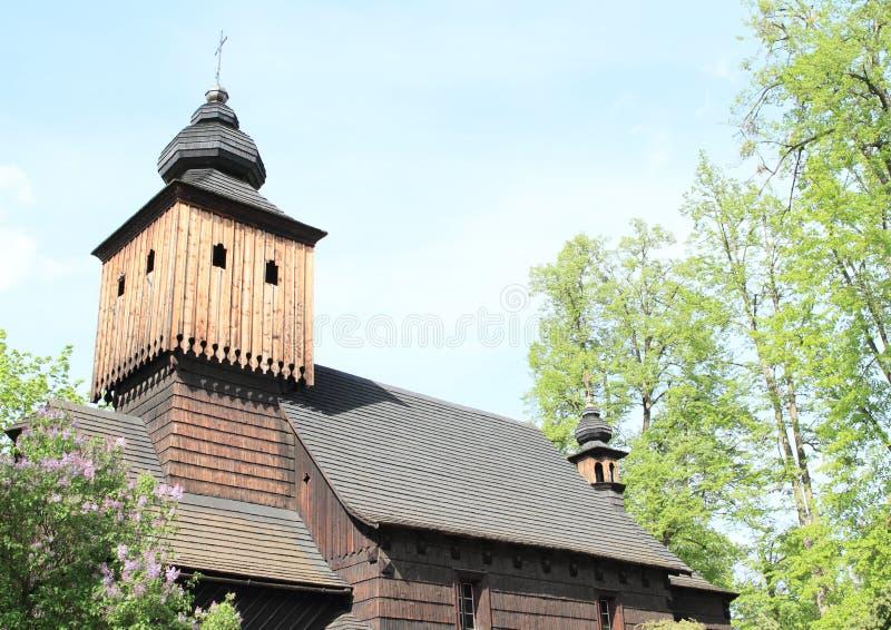 Башня деревянной церков Анна от Vetrkovice стоковое изображение rf