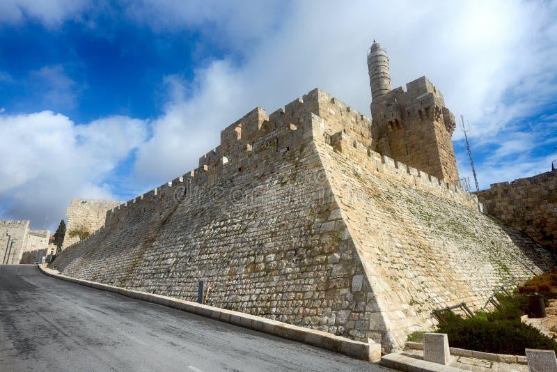 Башня Дэвида в старом городе Иерусалиме стоковое фото rf