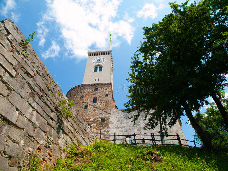Башня замка Любляны стоковые фотографии rf