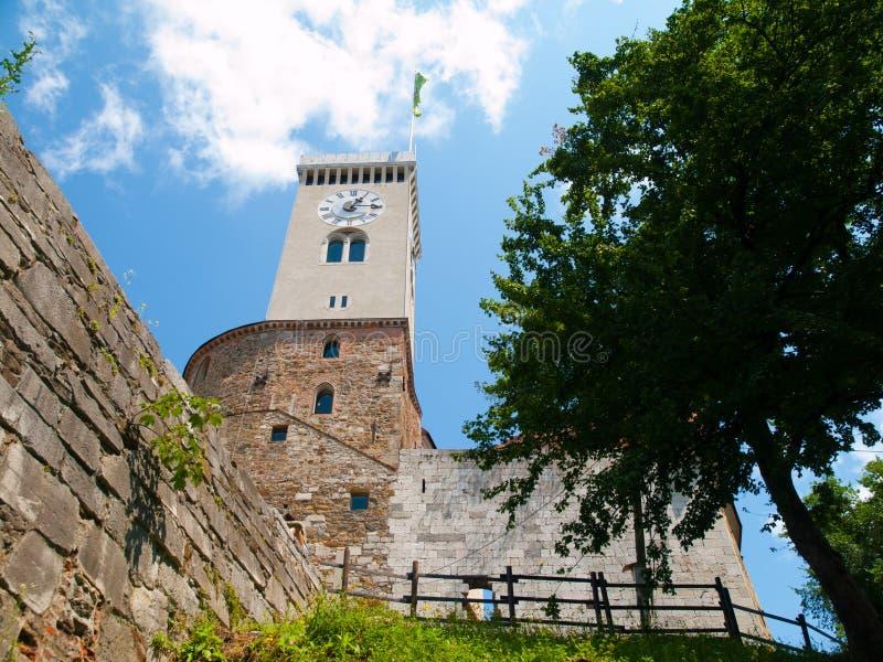 Башня замка Любляны стоковая фотография
