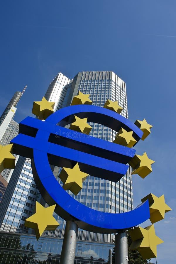 башня знака frankfurt евро ecb передняя стоковое изображение