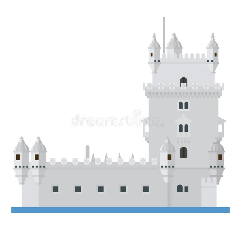 Башня значок вектора дизайна Belem, Лиссабона, Португалии плоский иллюстрация вектора