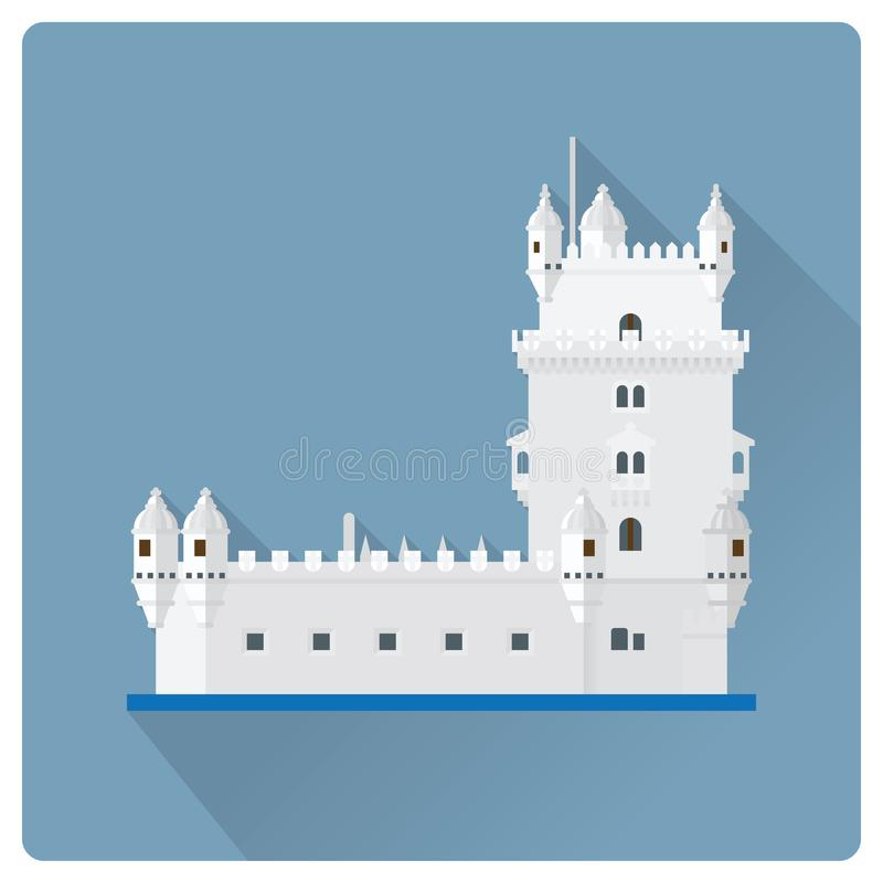 Башня иллюстрация вектора дизайна Belem, Лиссабона, Португалии плоская бесплатная иллюстрация
