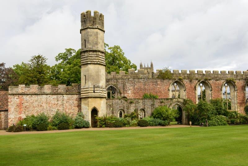 Башня и руины большого зала на дворце епископа, Wells стоковое фото rf
