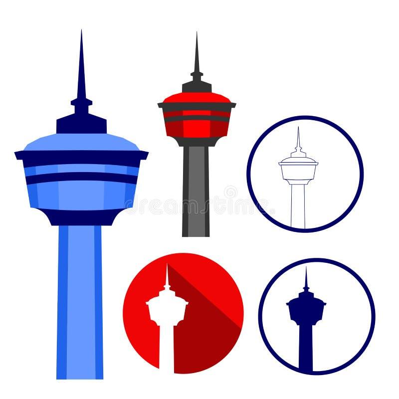 Башня Калгари на различных стилях иллюстрации бесплатная иллюстрация