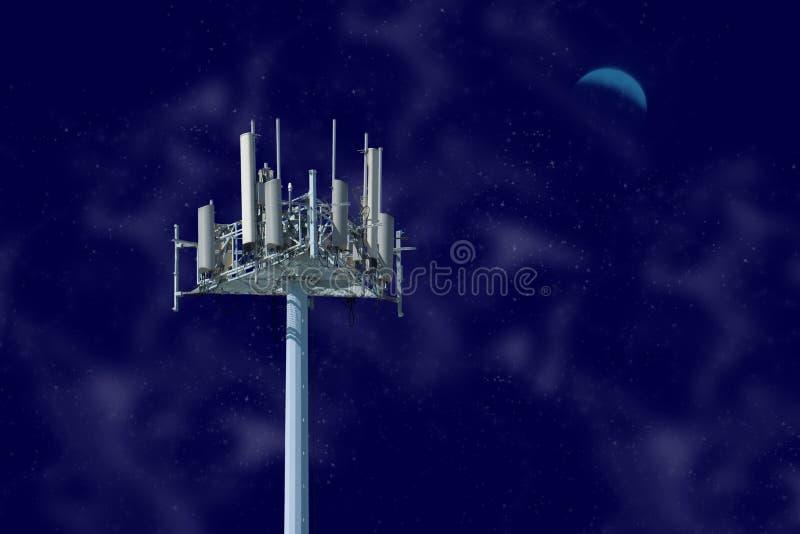 Башня клетки на ноче стоковые фотографии rf