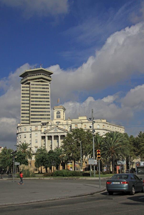 Башня Колумбуса самые высокие 110 метров конструкции в центре Барселоны и Участка Военноморск de Catalunya - buildin правительств стоковое фото