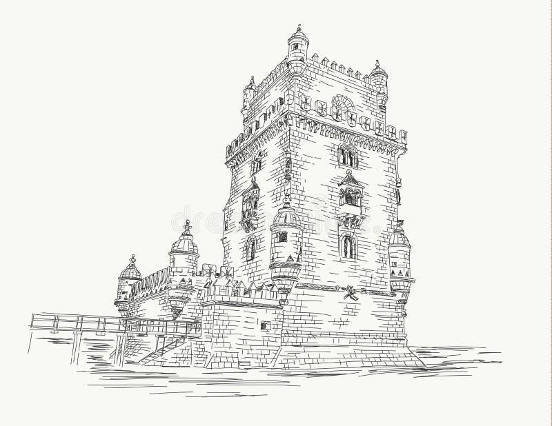 Башня Лиссабон - Португалия Belem, чертеж руки иллюстрация штока