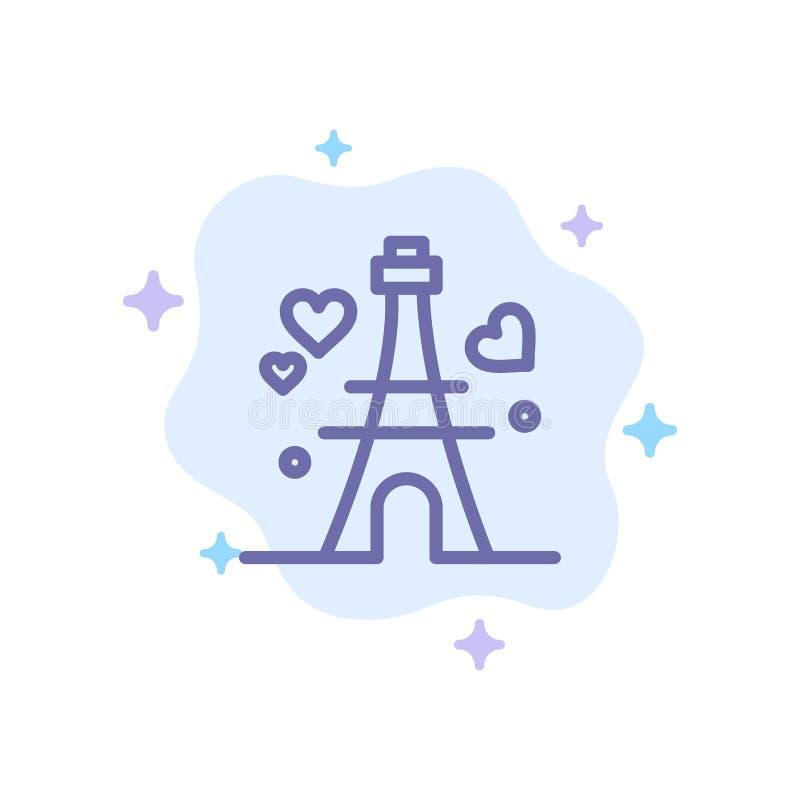 Башня, любовь, сердце, значок свадьбы голубой на абстрактной предпосылке облака бесплатная иллюстрация