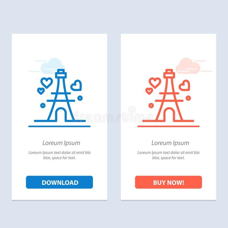 Башня, любовь, сердце, синь свадьбы и красная загрузка и купить теперь шаблон карты приспособления сети бесплатная иллюстрация