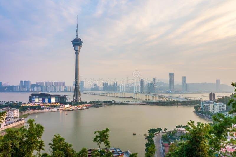 Башня Макао, Восточно-Китайское море, мост Ponte de Sai Van и Sai Van Озера стоковая фотография rf