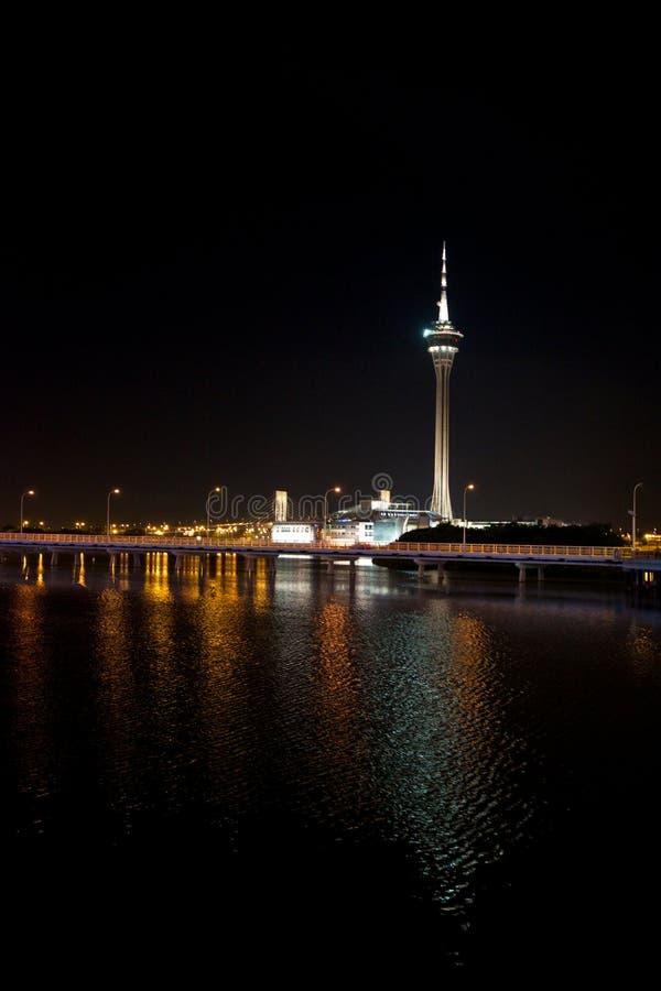 Башня Макао на ноче стоковое фото rf