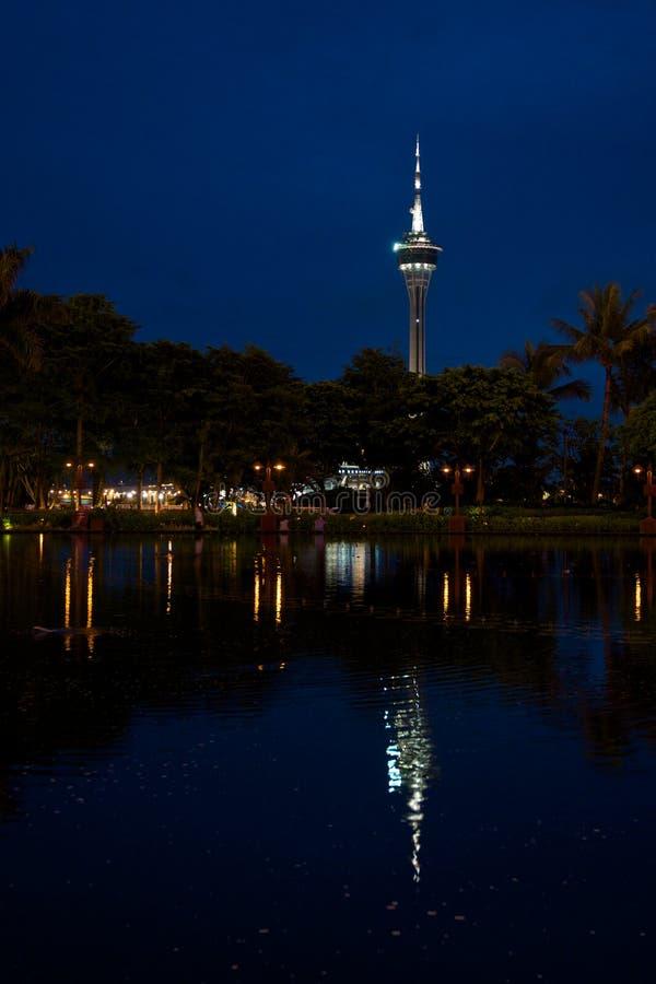 Башня Макао на ноче стоковое изображение rf