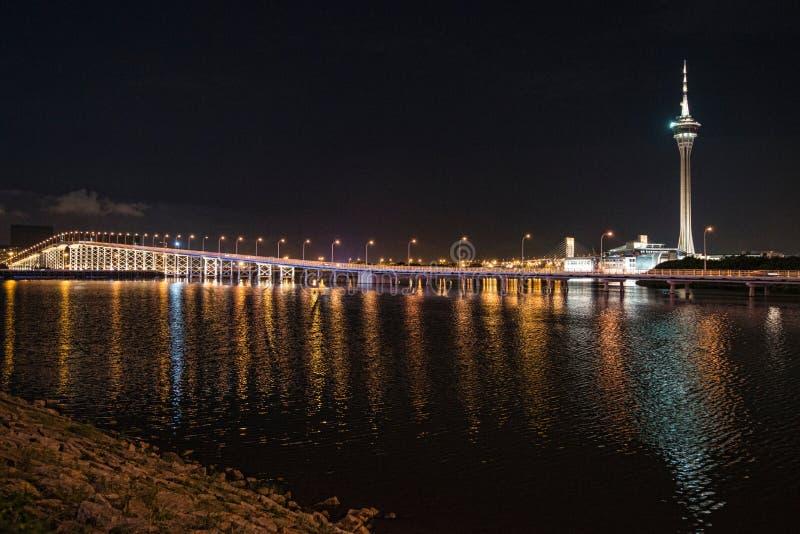 Башня Макао на ноче стоковые фото