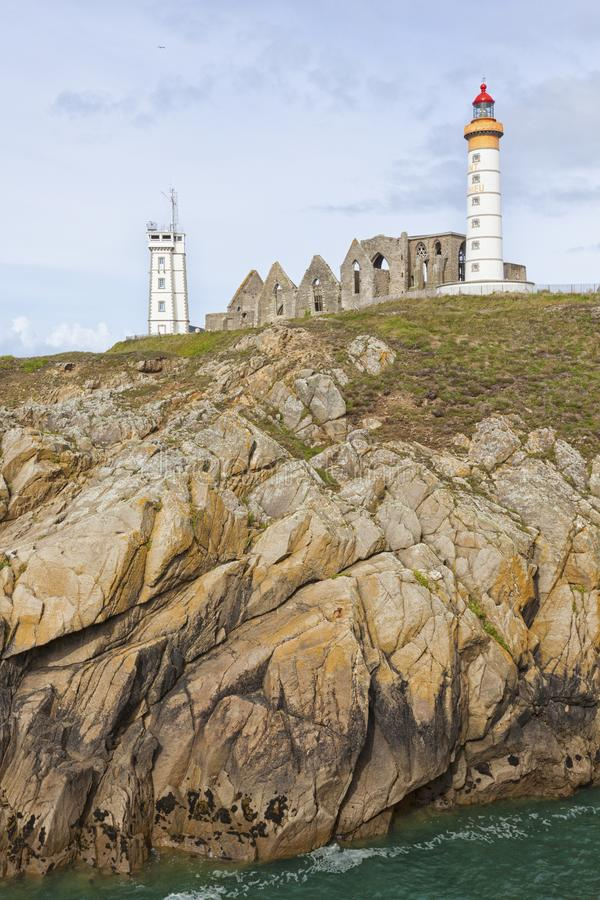 Башня маяка, аббатства и семафора Свят-Mathieu, Бретани стоковая фотография