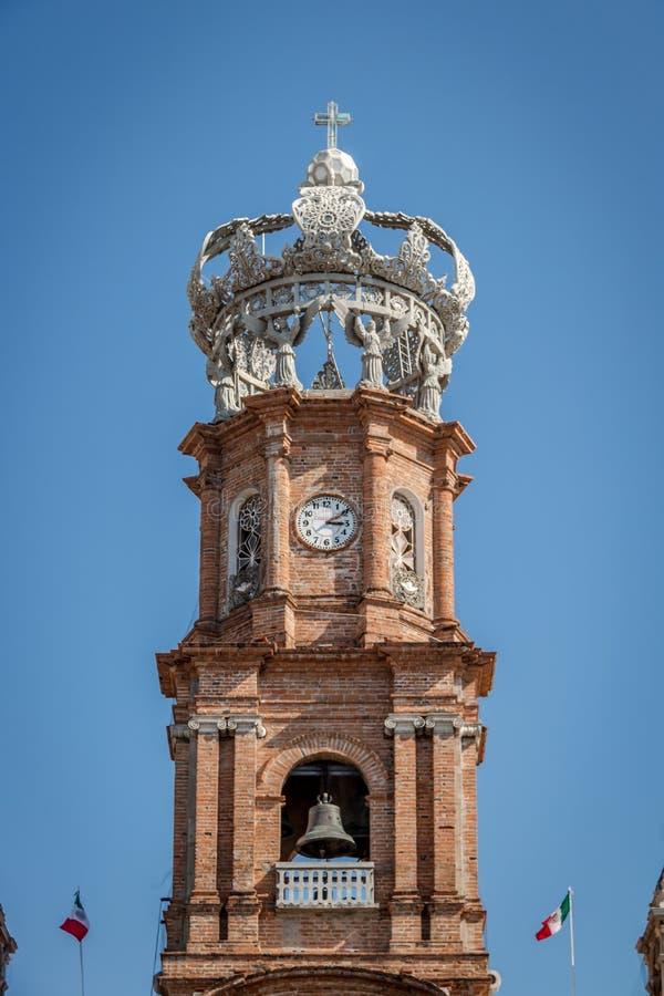 Башня нашей дамы церков Guadalupe - Puerto Vallarta, Халиско, Мексики стоковое фото rf