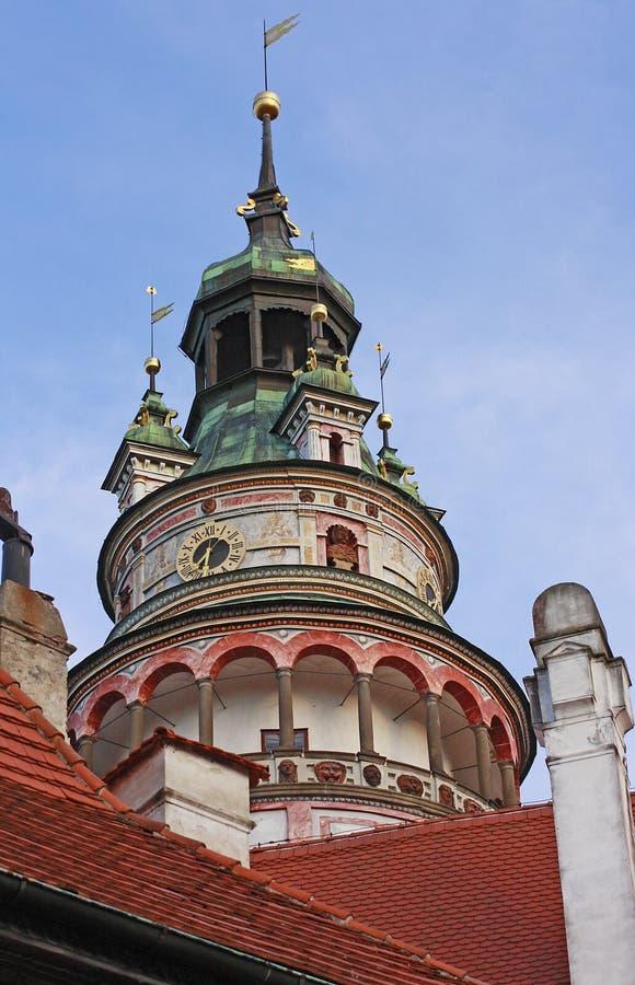 Башня на Ceske Krumlov стоковое изображение rf