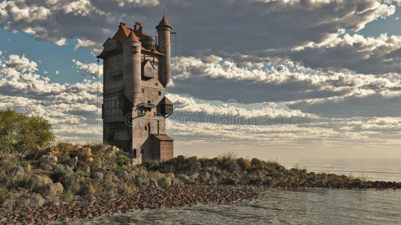 башня озера замока иллюстрация вектора