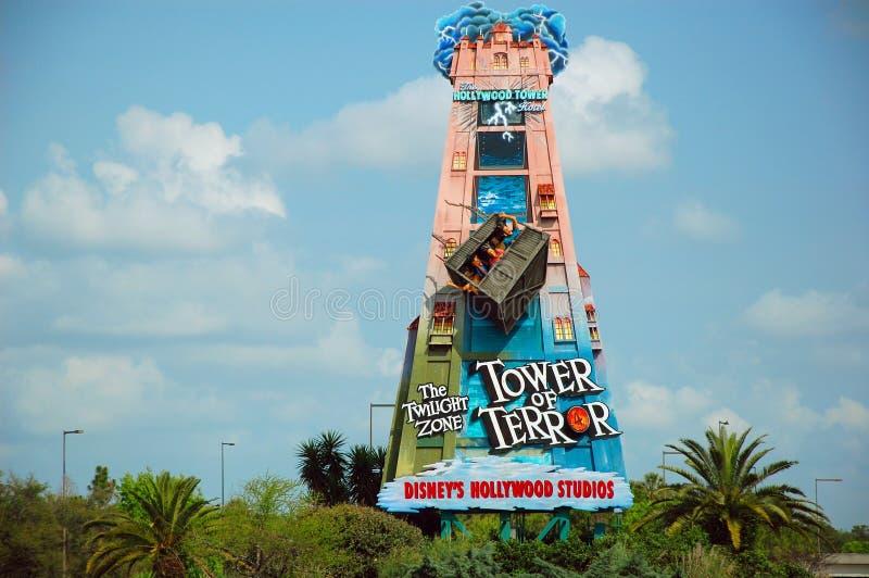 Башня дорожного знака террора стоковое фото rf