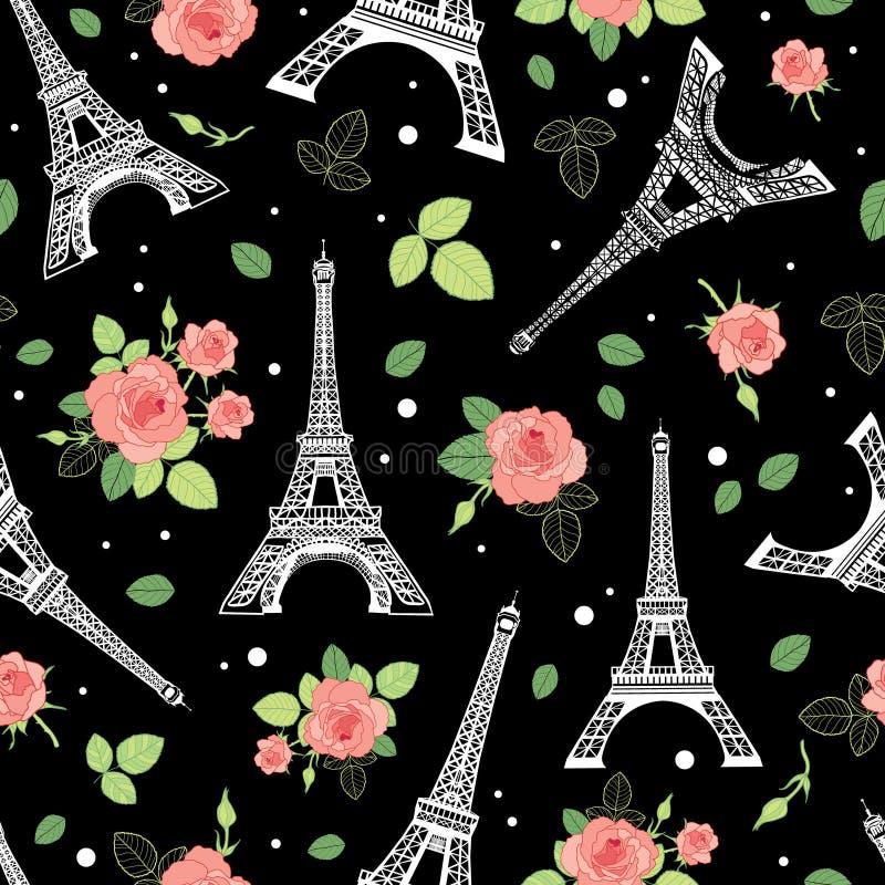 Башня Париж Eifel вектора черная розовая и картина повторения цветков роз безшовная окруженная сердцами дня валентинок St  иллюстрация вектора
