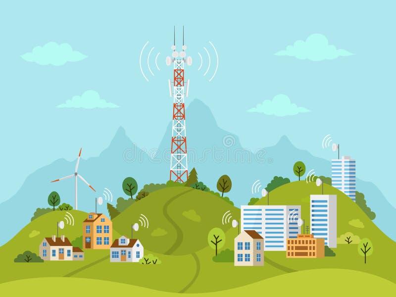 Башня передачи на ландшафте с волнами сигнала иллюстрация штока