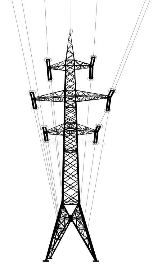 Башня передачи энергии с проводами. иллюстрация штока