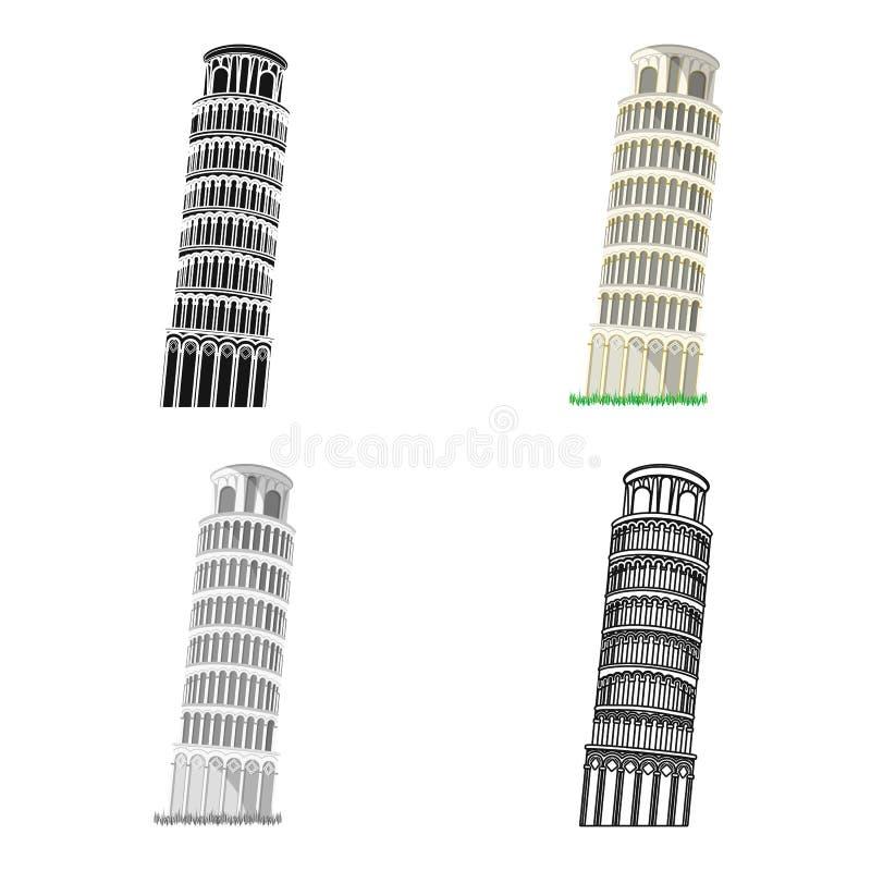 Башня Пизы в значке Италии в стиле шаржа изолированном на белой предпосылке Иллюстрация вектора запаса символа стран иллюстрация вектора